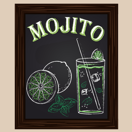 cold mojito with mint drawn in chalk 일러스트