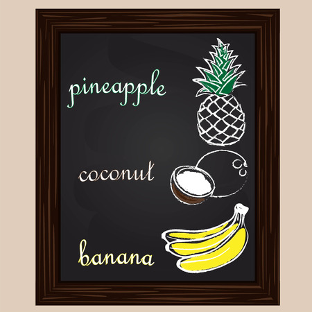 chalk frame: Pineapple  coconut, and banana  drawn by a chalk  on a black board Illustration