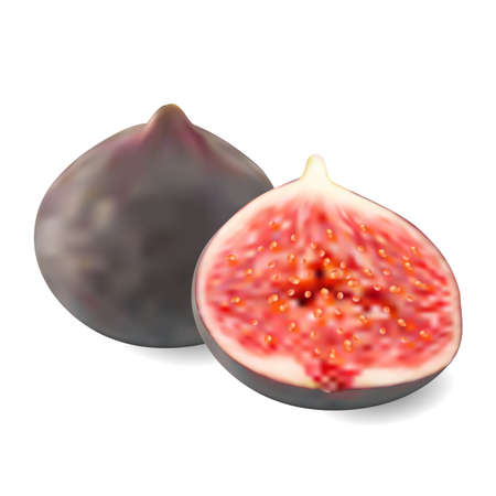 ripe: two ripe juicy figs on a white background