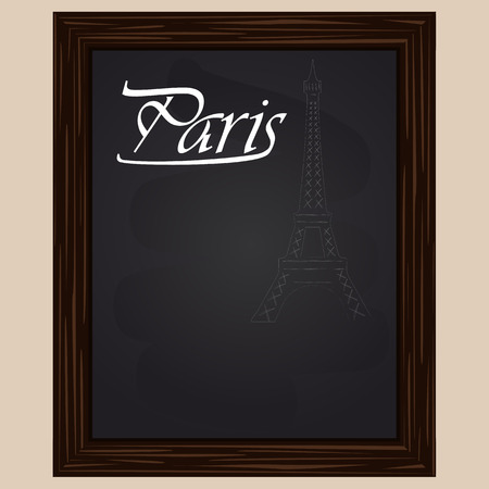 eifel tower: eifel tower  drawing with chalk on a black background Illustration