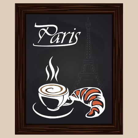 eifel tower: croissant and coffee on a background eifel tower drawing with chalk Illustration