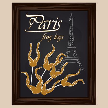 eifel tower: frog legs on a background eifel tower drawing with chalk