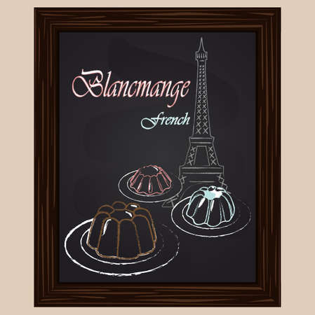 blancmange: Brown pink and blue blancmange and eifel tower drawing with chalk