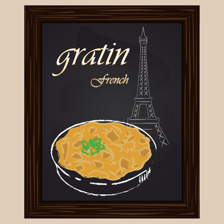 eifel tower: gratin in the saucer and eifel tower drawing with chalk