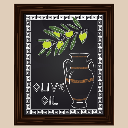 amphora: Green olives with leaves and oil in amphora drawn in chalk Illustration