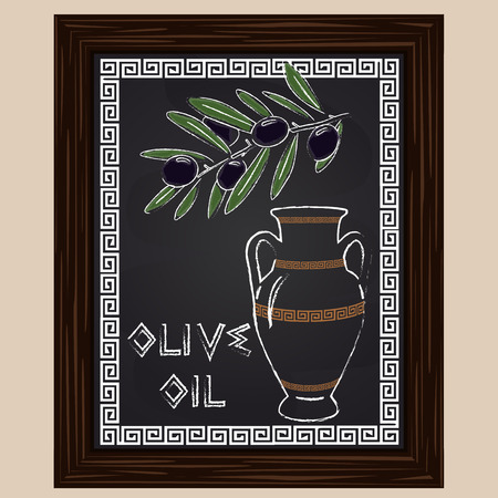 black olives with leaves and oil in amphora drawn in chalk