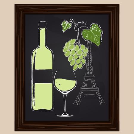 eifel tower: White wine bottle and glass on background eifel tower drawn in chalk