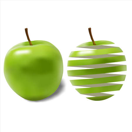 apple isolated: green ripe juicy apple and its peel on a white background Illustration