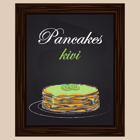 pancakes with kivi on a plate drawn chalk on a blackboard