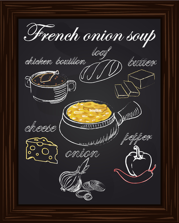 recipe for onion soup with peppers, cheese, butter, a loaf, onion, chicken bouillon drawn with chalk
