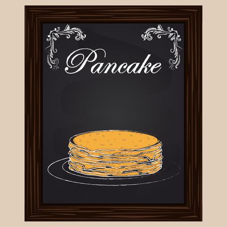 pancake: pancakes    on the plate drawn chalk on a blackboard