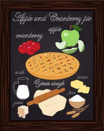 yeast: apple cranberry pie with apple, cranberry, dough, flour, butter, milk, yeast, drawn in chalk