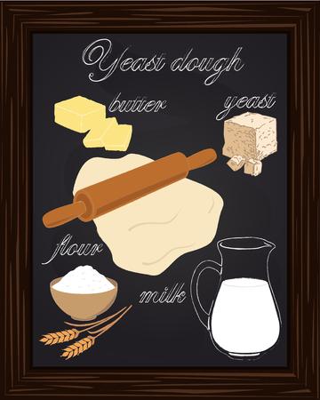 yeast: dough recipe yeast with milk, butter, flour, drawn in chalk