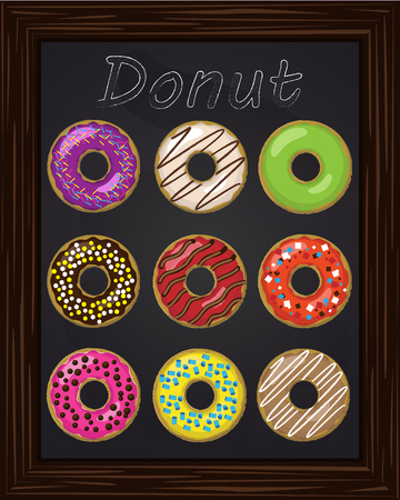 glaze: Ten beautiful colorful donuts with glaze drawing with chalk