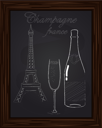 eifel tower: a nice glass with foam and a bottle of champagne on the background Eifel Tower drawn in chalk