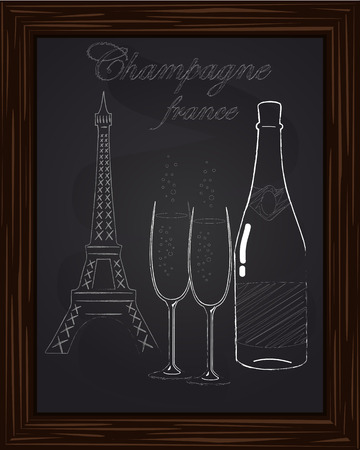 eifel tower: beautiful two glasses and a bottle of champagne on the background Eifel Tower drawn in chlk