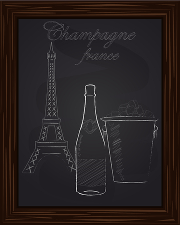 eifel tower: beautiful bucket with ice and champagne bottle on the background Eifel Tower drawn in chlk