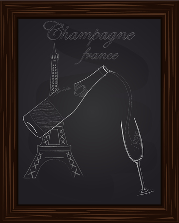 eifel tower: a nice glass and a bottle of champagne on the background Eifel Tower drawn in chalk