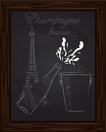 black and white: open a bottle of champagne with splashes and bucket ice on the background Eifel Tower drawn in chalk