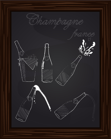 bung: five beautiful champagne bottles drawn in chalk