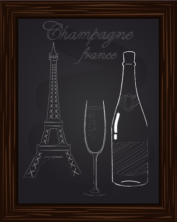 eifel: a nice glass and a bottle of champagne on the background Eifel Tower drawn in chalk