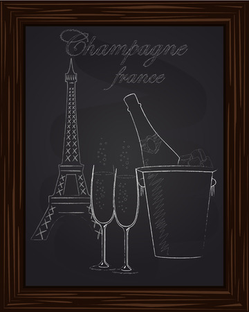 eifel tower: beautiful bucket with ice and a bottle of champagne and two glasses on the background Eifel Tower drawn in chlk