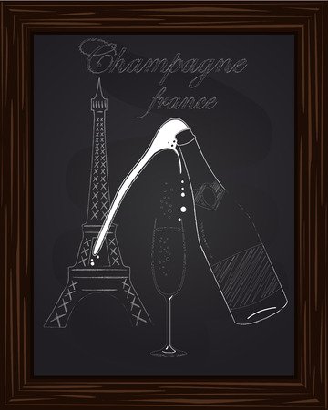 eifel tower: a nice glass and a bottle of champagne with foam on the background Eifel Tower drawn in chalk