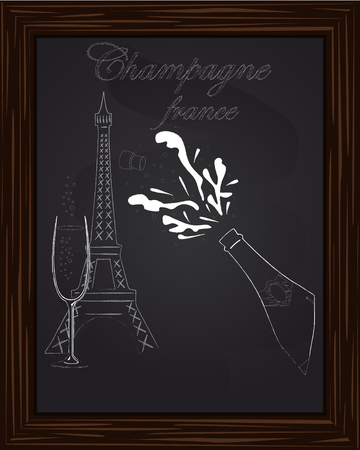 eifel: open a bottle of champagne with splashes on the background Eifel Tower drawn in chalk
