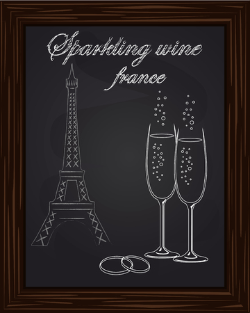 eifel: beautiful two glasses champagne and two wedding rings on the background Eifel Tower drawn in chlk