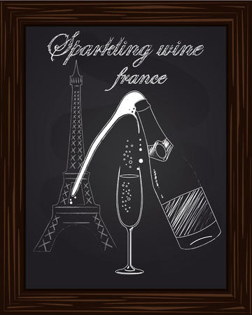 eifel: a nice glass and a bottle of champagne with foam on the background Eifel Tower drawn in chalk
