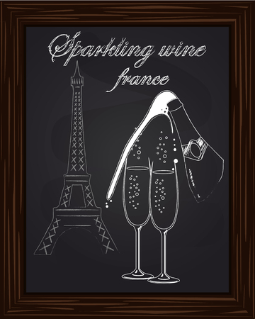 eifel tower: a nice two glass and a bottle of champagne with foam on the background Eifel Tower drawn in chalk Illustration