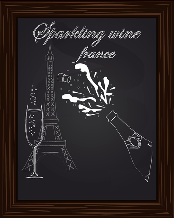 eifel tower: open a bottle of champagne with splashes on the background Eifel Tower drawn in chalk