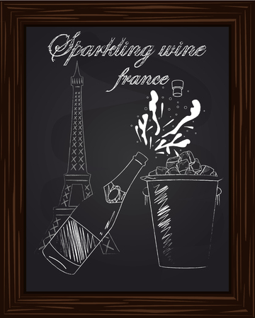 eifel tower: open a bottle of champagne with splashes and bucket ice on the background Eifel Tower drawn in chalk