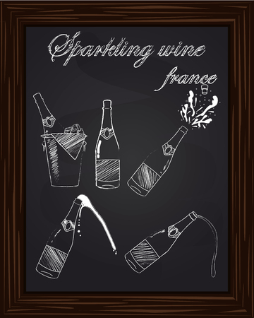 five beautiful champagne bottles drawn in chalk