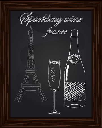 eifel: a nice glass with foam and a bottle of champagne on the background Eifel Tower drawn in chalk