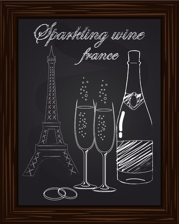 eifel: beautiful two glasses and a bottle of champagne on the background Eifel Tower drawn in chlk