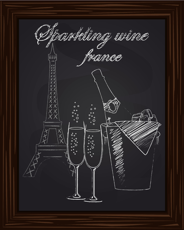 eifel: beautiful bucket with ice and a bottle of champagne and two glasses on the background Eifel Tower drawn in chlk