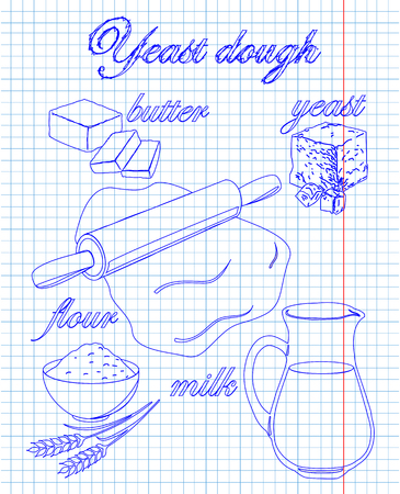 dough: dough recipe yeast with milk, butter, flour, drawn in pen