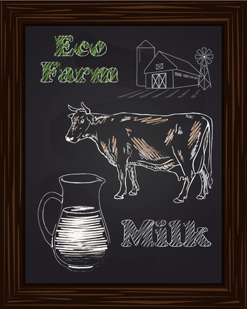 kine: eco farm with a cow and milk drawing with chalk Illustration