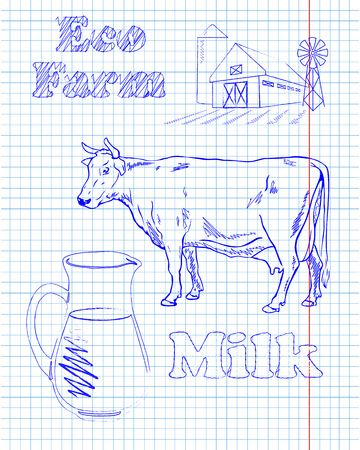 kine: eco farm with a cow and milk drawing in pen