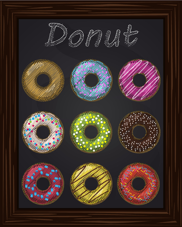 glaze: Ten colorful donuts with glaze drawing with chalk Illustration