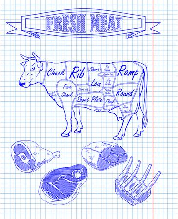 schema di carne e pezzi di carne di disegno con pan Vettoriali