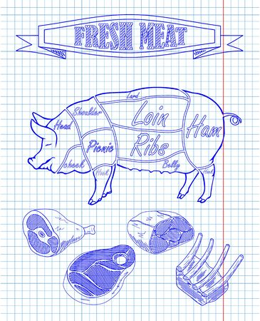pork diagram and pieces of meat drawing with pan