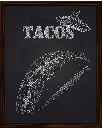 tacos with salad tomato onion cheese corn beef drawn in chalk Vector Illustration