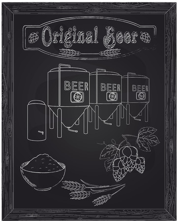 Brewery with ingredients. Barley hops and yeast drawn in chalk