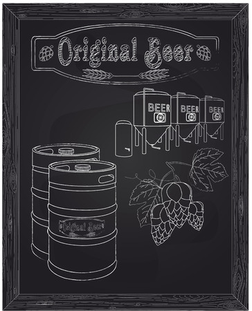 brewery  hops: brewery, metallic barrels of beer and hops drawn in chalk