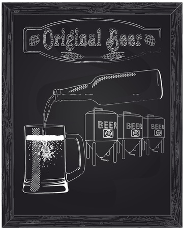 poured: It poured into a cup of beer with bottle against the background of the brewery drawn in chalk Illustration