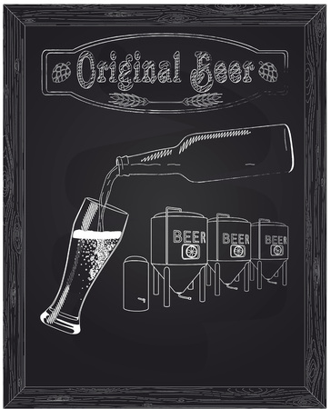 poured: It poured into a glass of beer with bottle against the background of the brewery drawn in chalk