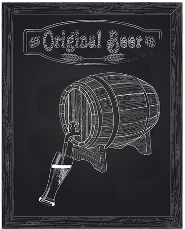 It poured into a glass of beer with barrel against the background of the brewery drawn in chalk
