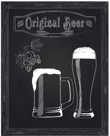 vasos de cerveza: taza hermosa y un vaso de cerveza y espuma dibujado en tiza